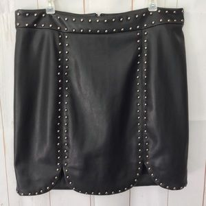 SHINESTAR Faux Leather Studded Skirt
